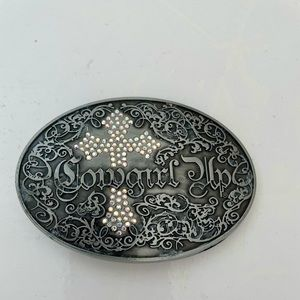 Cowgirl Up Western Style Belt Buckle with Cross